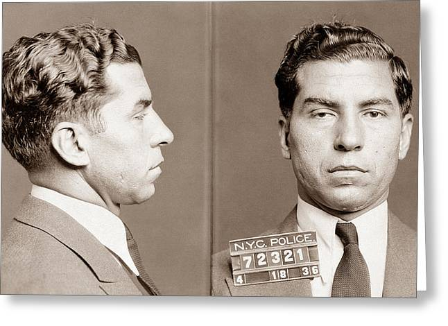 Lucky Luciano Mugshot Greeting Card by War Is Hell Store