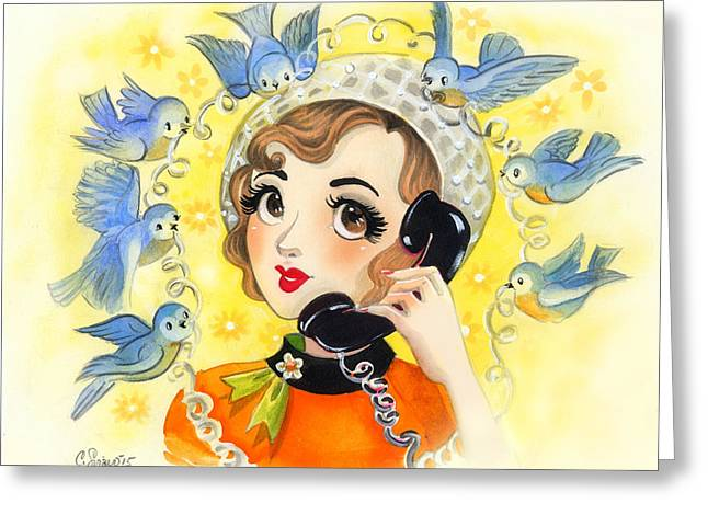 Lucky Number Retro Telephone Lady Birds Greeting Card by Christina Siravo