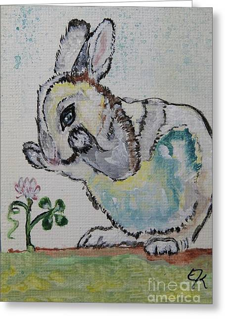 Lucky Rabbit Painting Print #895 Greeting Card