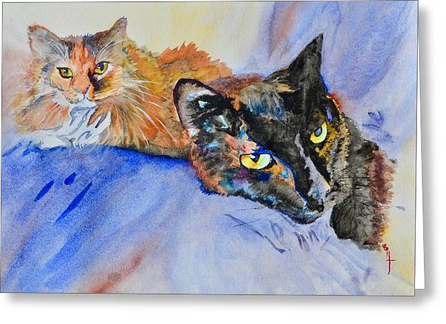Lucy And Lula Greeting Card by Beverley Harper Tinsley