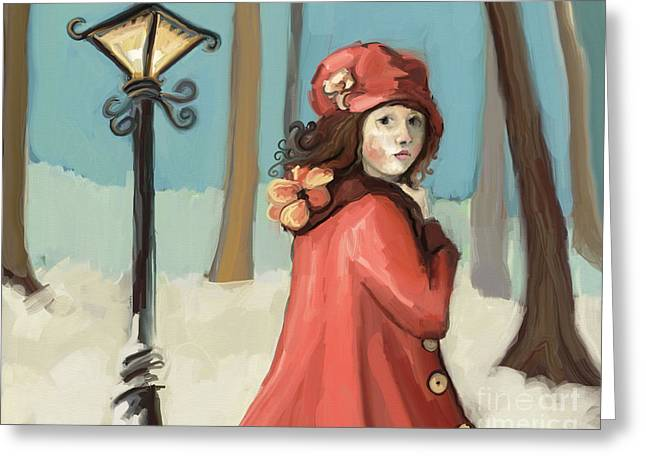 Girl In The Snow Greeting Card by Carrie Joy Byrnes