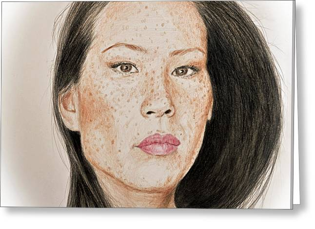 Lucy Liu Freckled Beauty Greeting Card by Jim Fitzpatrick