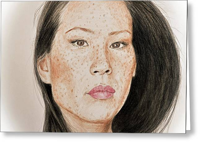Lucy Liu Freckled Beauty Greeting Card
