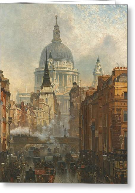 Ludgate, Evening Greeting Card by John O'Connor