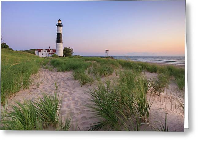 Ludington Beach And Big Sable Point Lighthouse Greeting Card by Adam Romanowicz