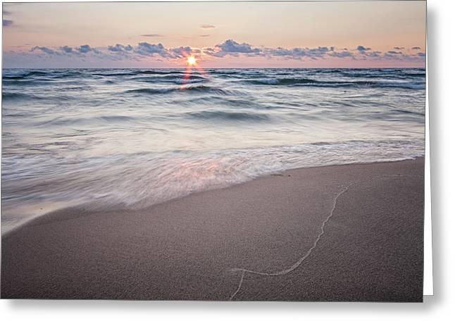 Ludington Beach Sunset Greeting Card