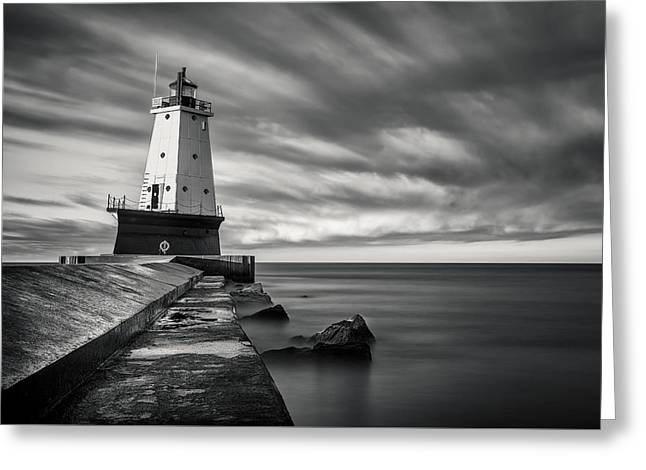 Ludington Light Black And White Greeting Card by Adam Romanowicz