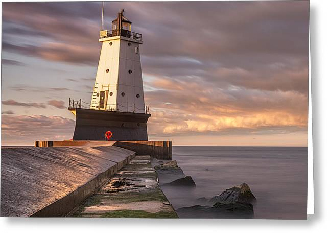 Ludington North Breakwater Light At Dawn Greeting Card by Adam Romanowicz