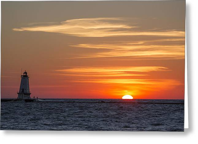 Ludington North Breakwater Light At Sunset Greeting Card