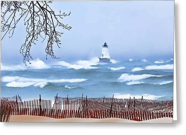 Ludington Winter Shore  Greeting Card