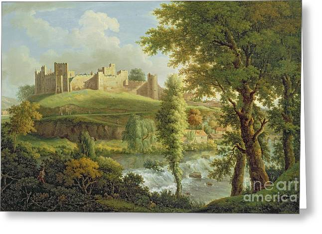 Weired Greeting Cards - Ludlow Castle with Dinham Weir Greeting Card by Samuel Scott