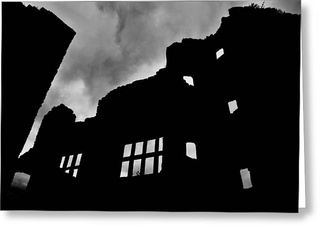 Ludlow Storm Threatening Skies Over The Ruins Of A Castle Spooky Halloween Greeting Card by Andy Smy