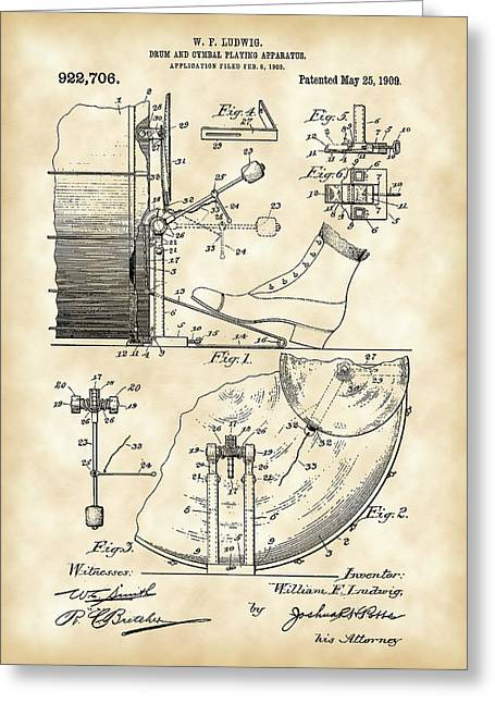 Ludwig Drum And Cymbal Foot Pedal Patent 1909 - Vintage Greeting Card by Stephen Younts