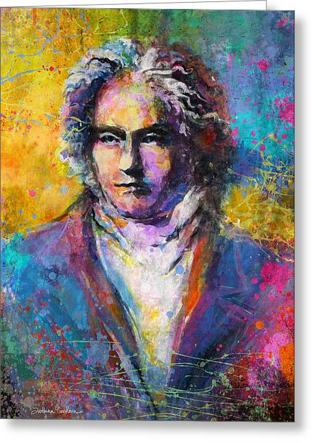 Mixed Media Print Mixed Media Greeting Cards - Ludwig Van Beethoven portrait Musical Pop Art painting print Greeting Card by Svetlana Novikova