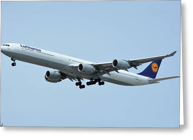 Greeting Card featuring the photograph Lufthansa Airbus A340-600 D-aihw Los Angeles International Airport May 3 2016 by Brian Lockett