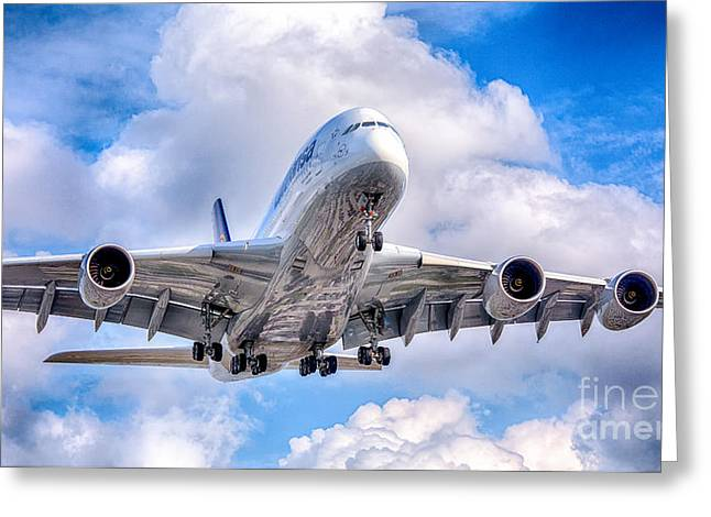Lufthansa Airbus A380 In Hdr Greeting Card by Rene Triay Photography