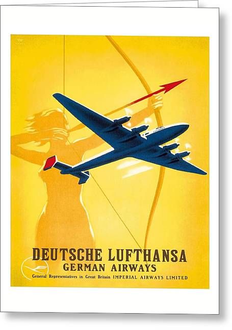 Lufthansa German Airways Archer Vintage Travel Poster By Willy Hanke Greeting Card by Retro Graphics