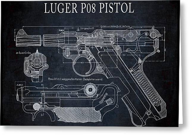 Luger P08 Pistol Blueprint Greeting Card