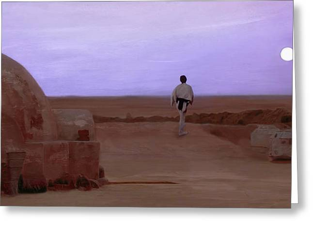 Luke Skywalker Tatooine Sunset Greeting Card