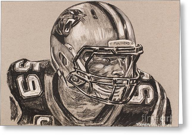 Luke Kuechly Portrait Greeting Card by Robert Yaeger