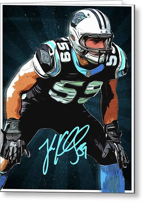 Luke Kuechly Greeting Card by Semih Yurdabak