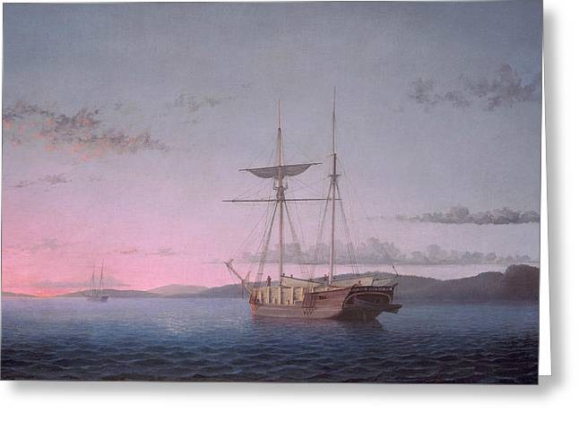 Lumber Schooners At Evening On Penobscot Bay Greeting Card