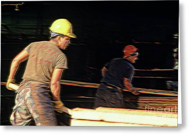 Lumber Yard Greeting Card by Jim Corwin