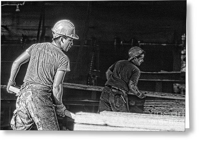 Lumber Yard With Workers Greeting Card by Jim Corwin