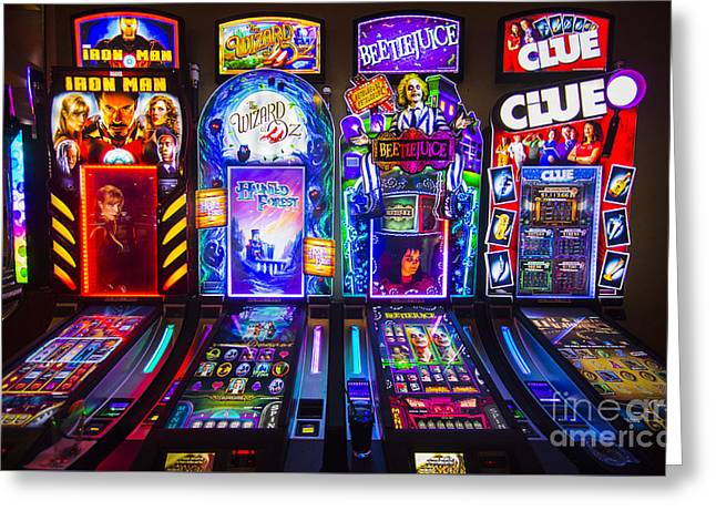 Lumiere Place Casino Slot Machines Greeting Card by David Oppenheimer