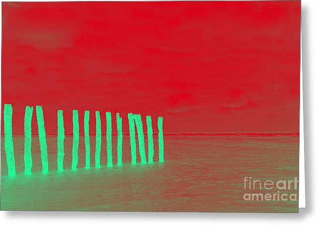 Luminous Beach Red Greeting Card