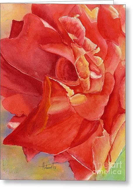 Luminous Rose Greeting Card by Mohamed Hirji