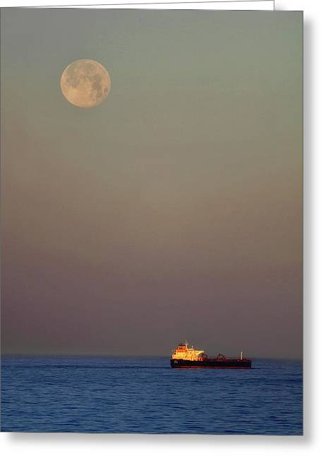 Greeting Card featuring the photograph Luna And The Ship - Ocean - Cargo Ship - Seascape by Jason Politte
