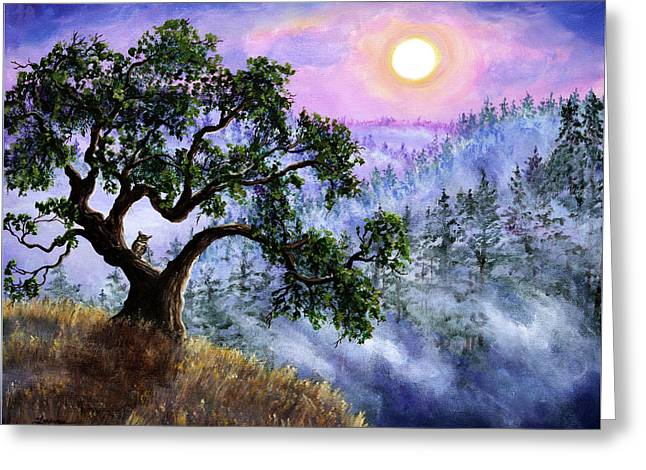 Luna In Mist And Fog Greeting Card by Laura Iverson