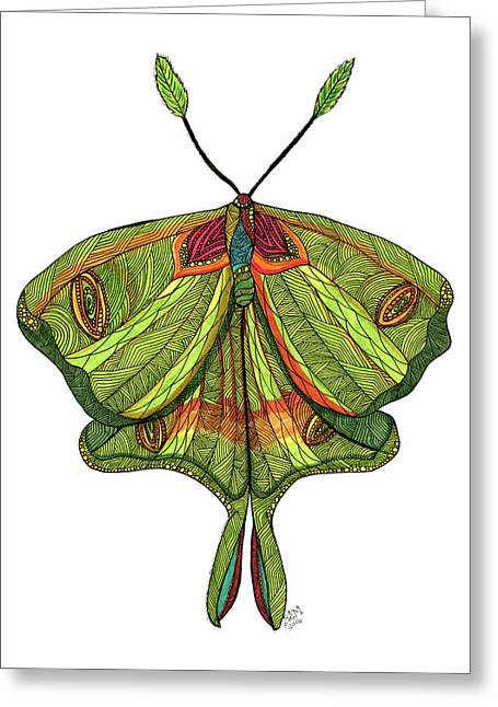 Greeting Card featuring the drawing Luna Moth by Barbara McConoughey