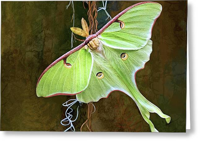 Greeting Card featuring the digital art Luna Moth by Thanh Thuy Nguyen