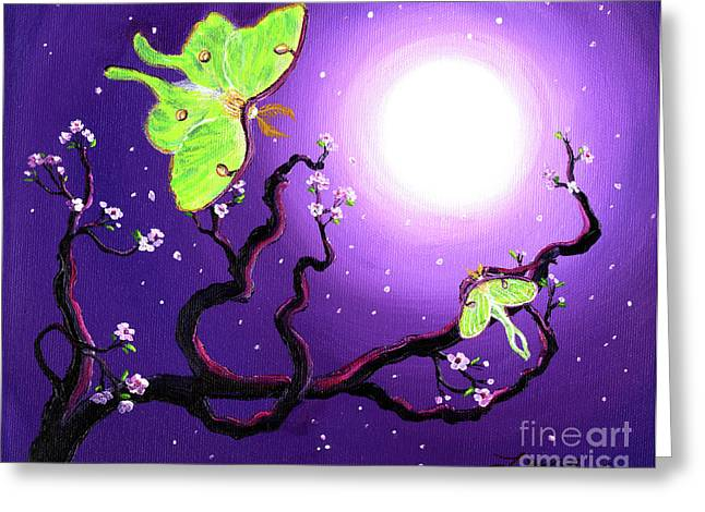 Luna Moths In Moonlight Greeting Card by Laura Iverson