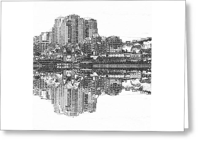 Luna Park Pencil Ink By Kaye Menner Greeting Card