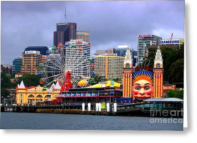 Luna Park Sydney Australia Greeting Card by Freda Sbordoni