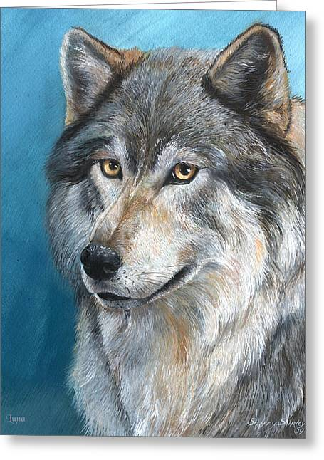 Greeting Card featuring the painting Luna by Sherry Shipley