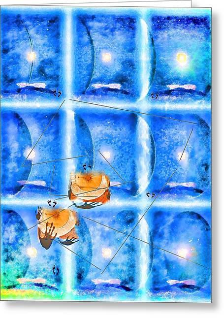 Lunar Balance Greeting Card by Kathy Bassett