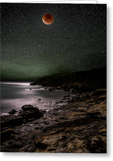 Lunar Eclipse Over Great Head Greeting Card