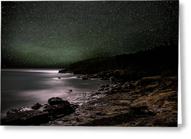 Lunar Eclipse Over Great Head Greeting Card by Brent L Ander