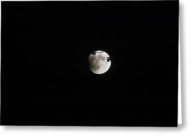 Lunar Eclipse Starting Greeting Card by Mark Russell