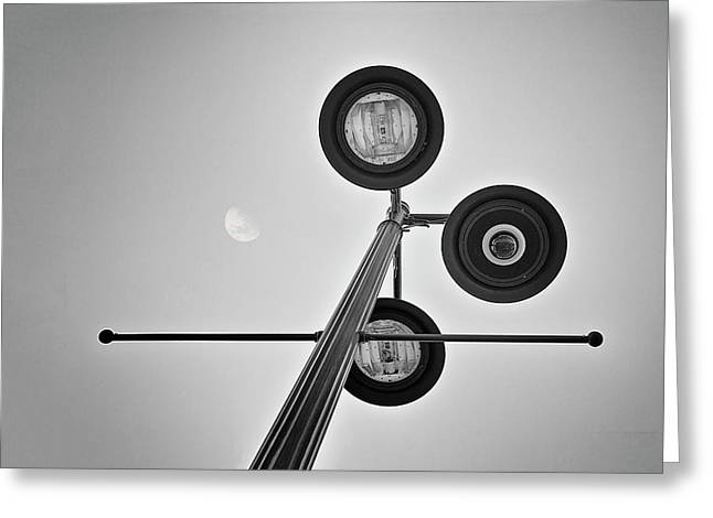Lunar Lamp In Black And White Greeting Card