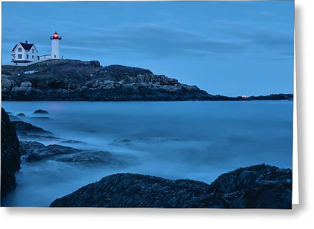 Lunar Perigee Moonrise And Nubble Lighthouse, Cape Neddick, York Greeting Card