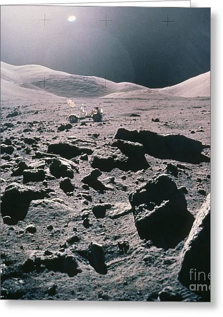 Lunar Rover At Rim Of Camelot Crater Greeting Card