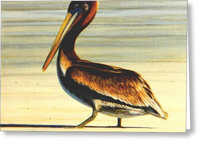 Brown Pelicans Greeting Cards - Lunatic Lou Greeting Card by Frank Dalton