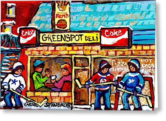 Lunch At Greenspot Deli Montreal Winter Street Hockey Game Scene Painting For Sale Carole Spandau    Greeting Card