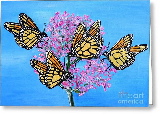 Butterfly Feeding Frenzy Greeting Card