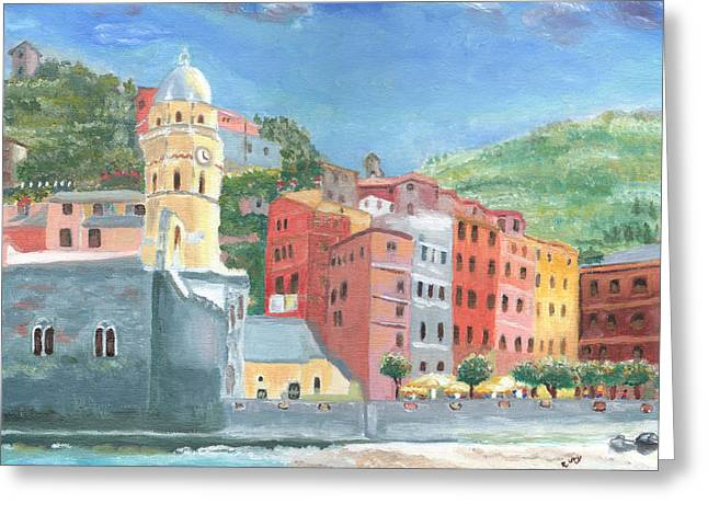 Cinqe Terre Greeting Cards - Lunch Hour at Vernazza Greeting Card by Rene Ury